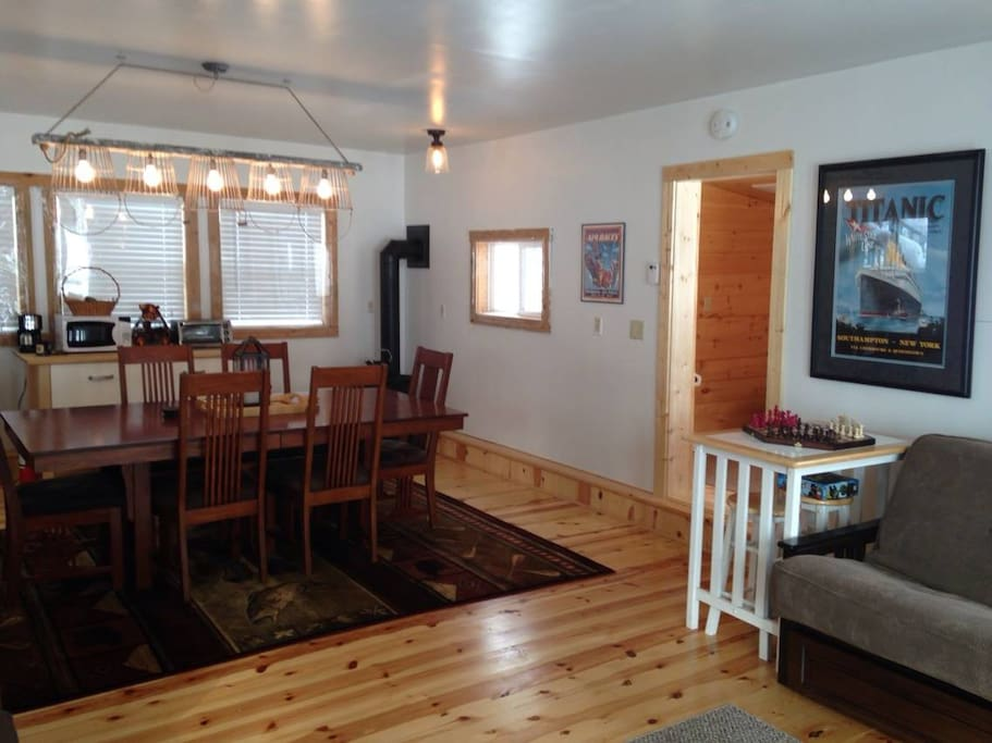 The inside of the lower level of The Cranberry Cottage!
