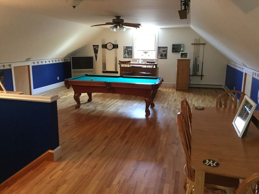 Third floor game room pool table and bar.