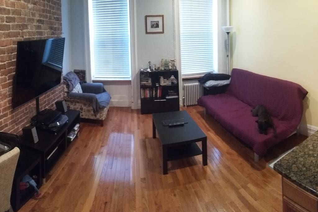 Panoramic photo of living room. Couch pulls out into a queen size bed.
