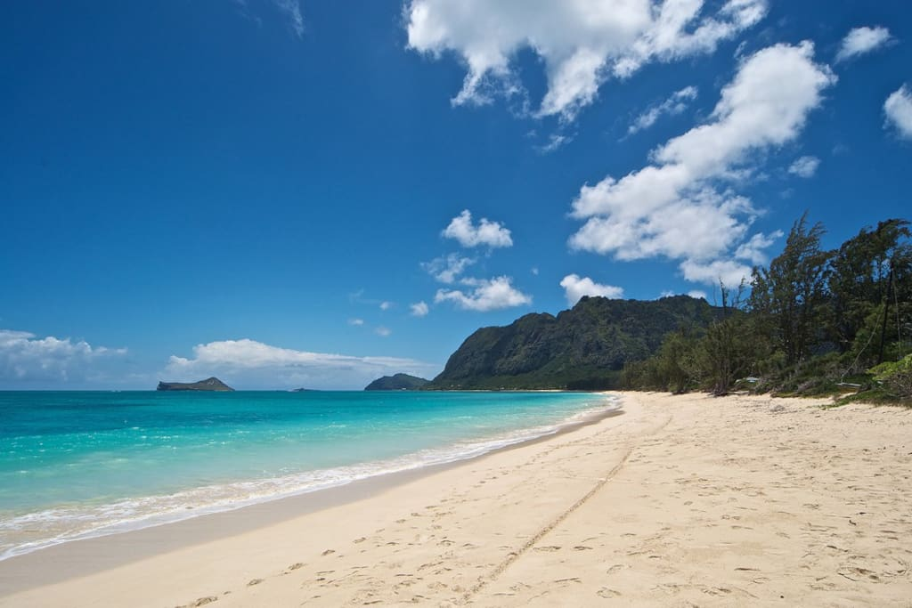 6 miles of Waimanalo beach with Rabbit island in view.