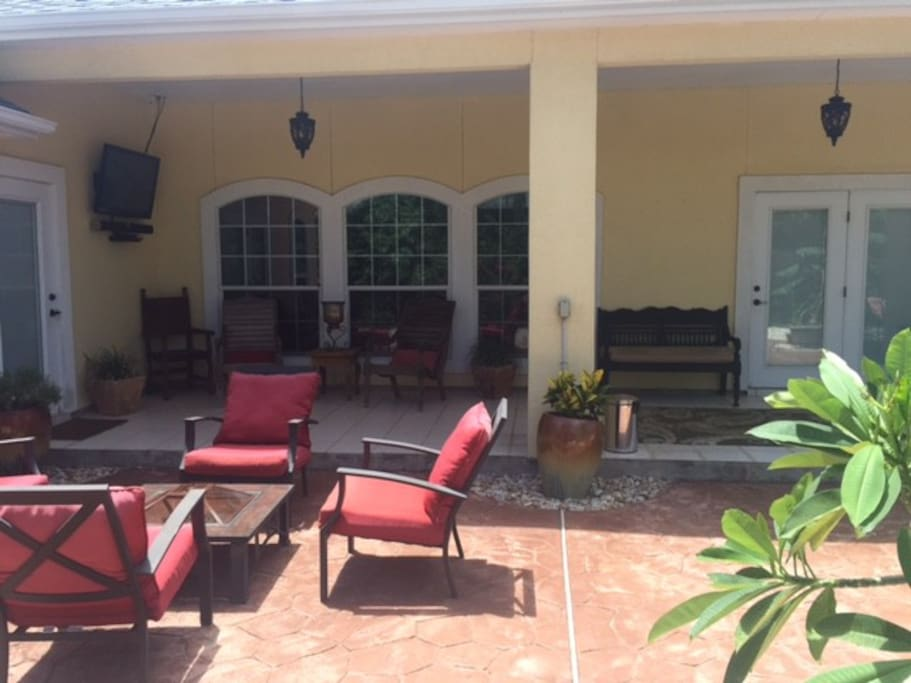 Large back porch with plenty of seating