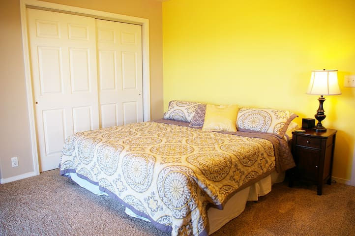 Master bedroom with king sized memory foam mattress.