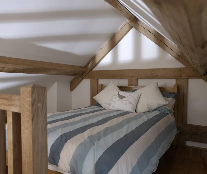 Double bed in mezzanine