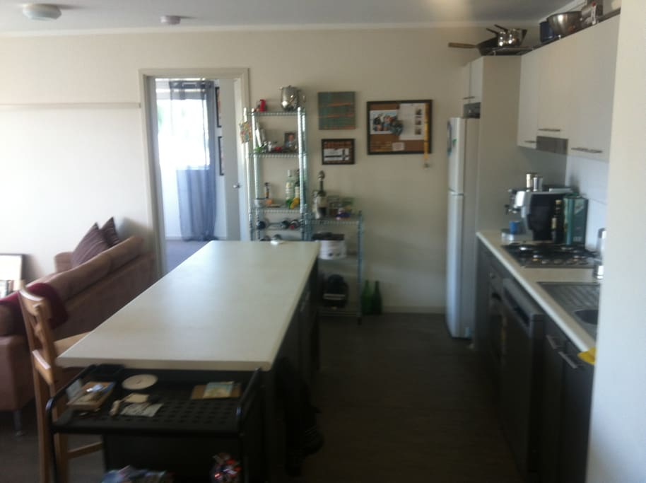 Full Kitchen at your disposal. Refrigerator, freezer, gas stove & oven, dishwashing machine, microwave and coffee machine available.