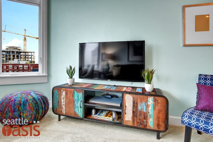 Designed to pop, the colors in the living room really lift your spirits.