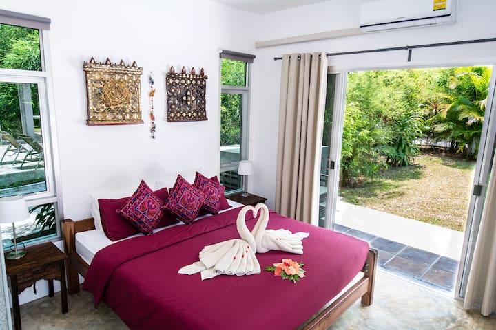 Master bedroom leading onto pool terrace