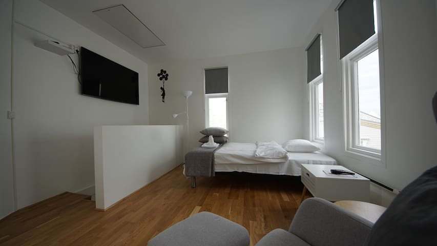 Nyinnredet leilighet i sentrum. Privat inngang.