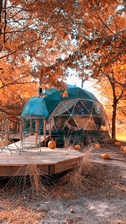 prive glamping Dome in de natuur met visvijver