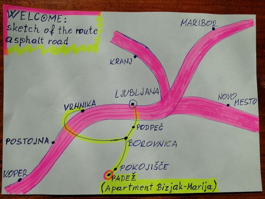 Routes to our apartment from different sides of Slovenia.