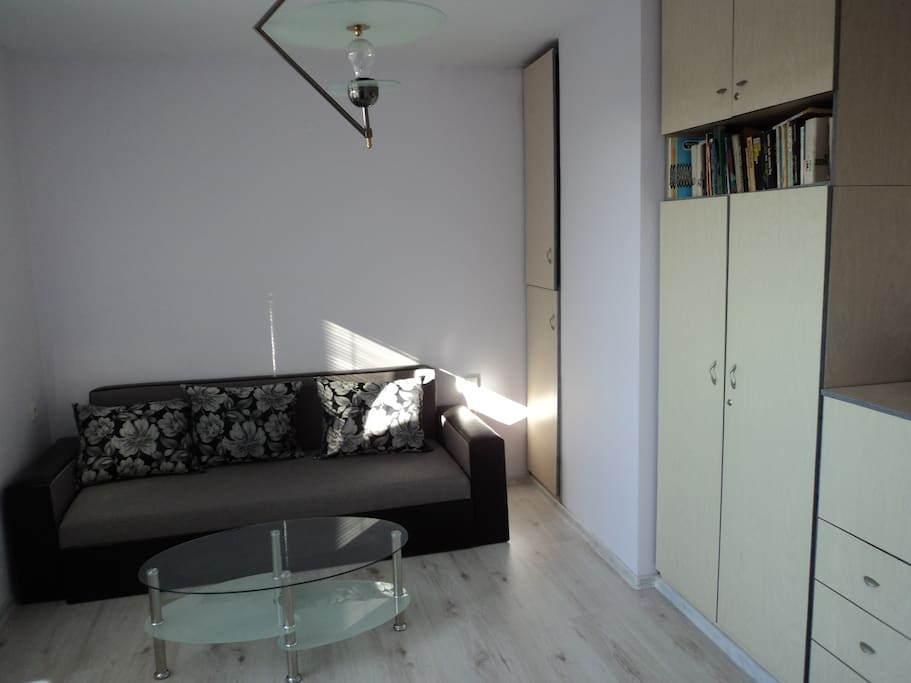 Living room with extendable sofa
