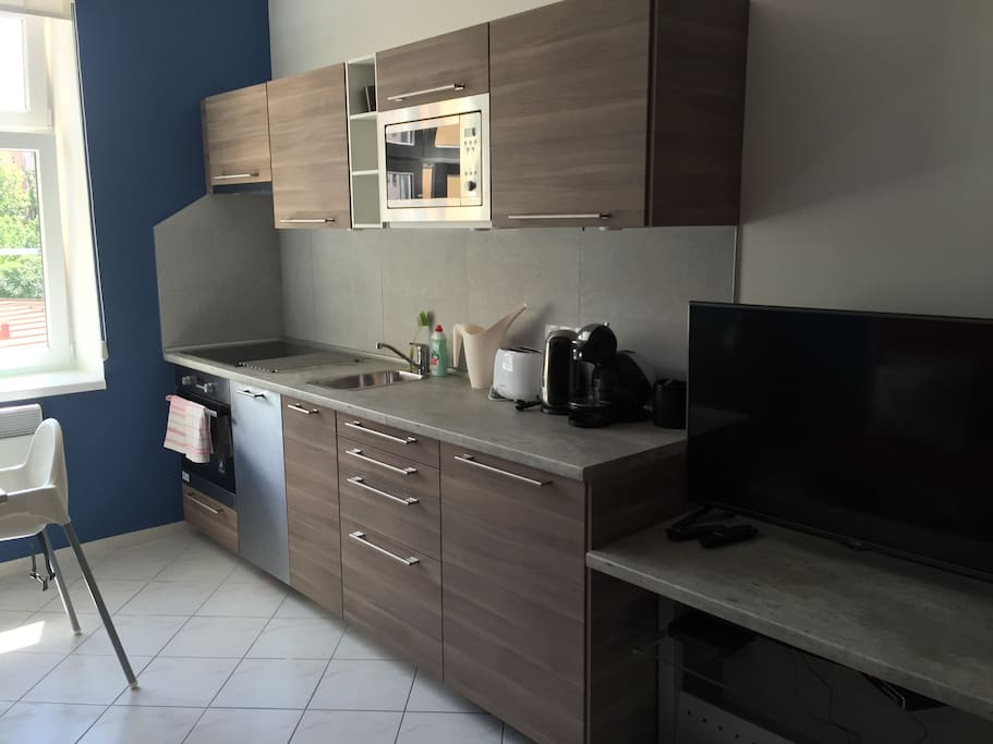 Living room with fully equipped kitchen