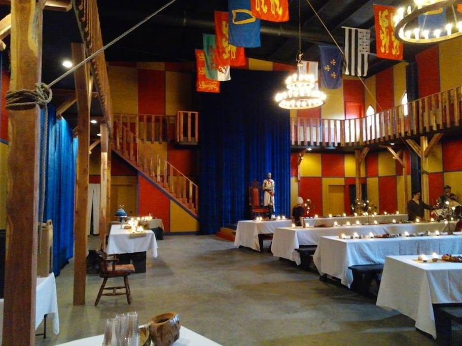 Interior view of the Great Hall as set up for a wedding
