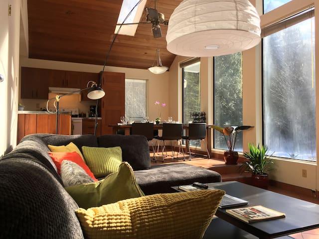 open concept split level living room/dining room