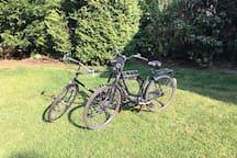 2 solide Fahrräder stehen zur Nutzung bereit!
