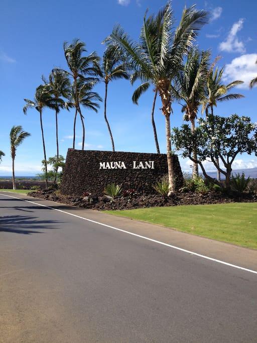 Mauna Lani resort entrance Big Island Hawaii, 20 miles north of the Kona airport.