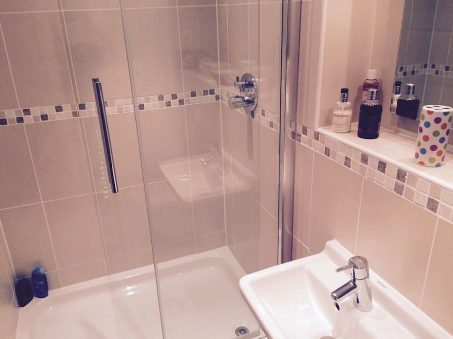 Modern en suite shower room with toilet. Shampoo, shower creams and towels provided