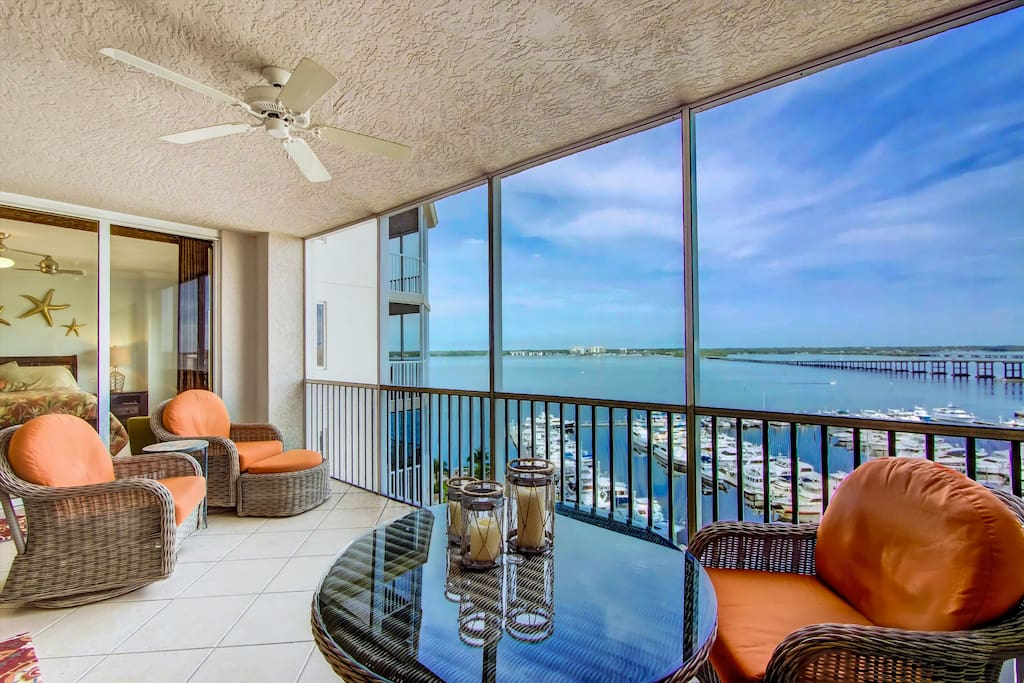 Main Lanai with views of water, North Ft Myers and downtown