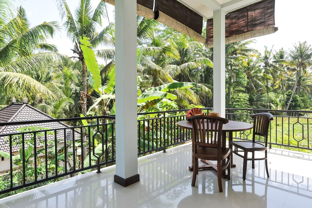 Dining table out on your private large balcony