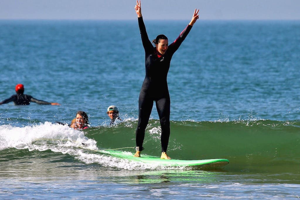 It's great moment when stay on surf board for the first time