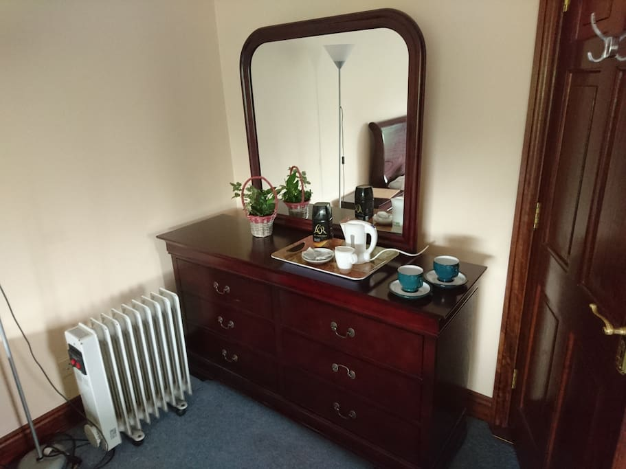 Dresser with drawers and kettle for tea/coffee