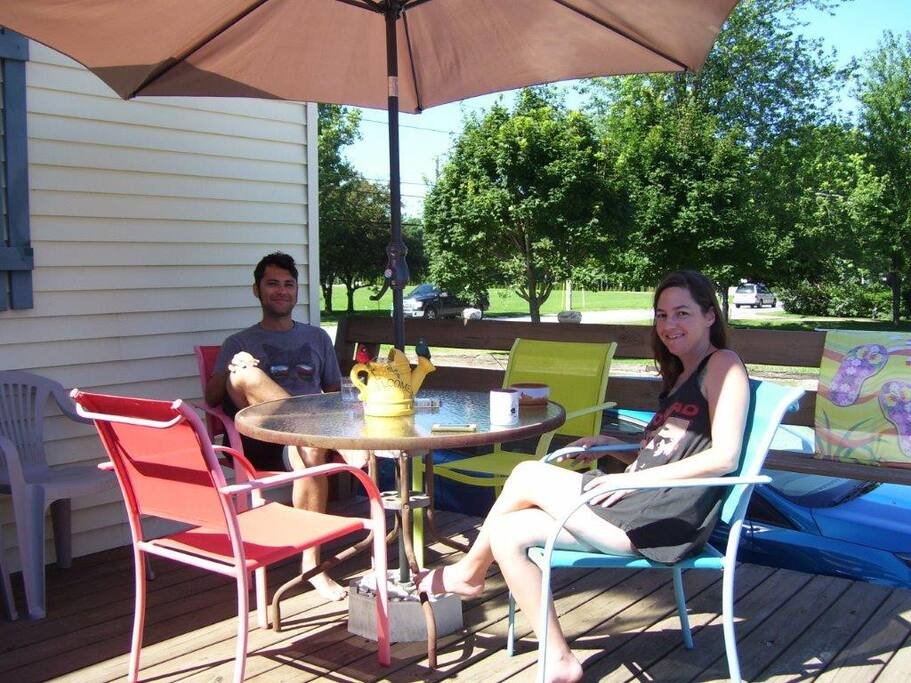guests from Houston enjoying morning on the deck