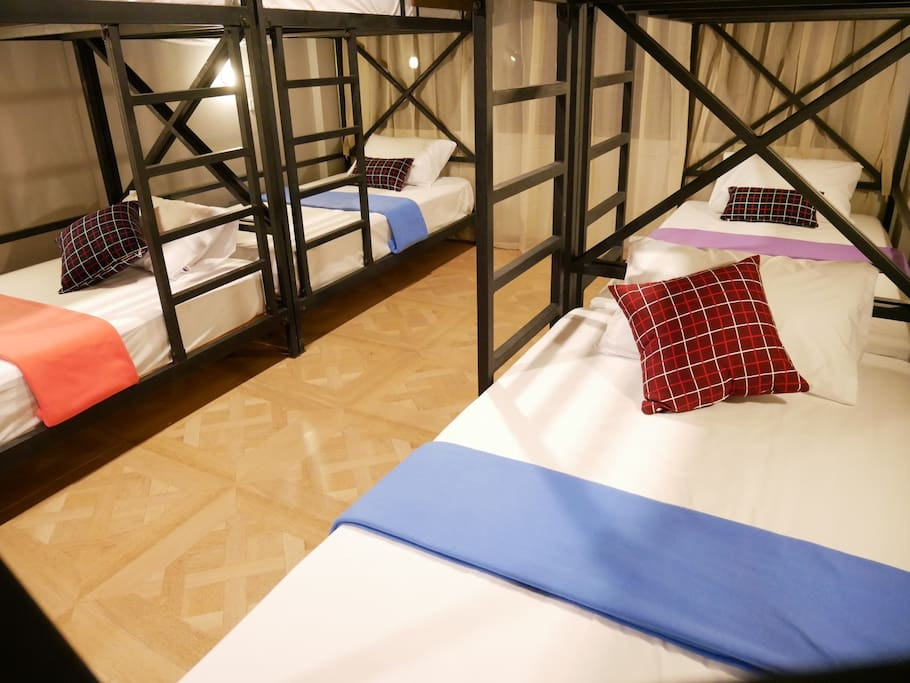 This large room has 4 bunk beds, sleeping up to 8 people.