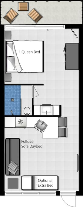 Unit 2: from partner next to ours on same floor, sleeping up to 3 persons (furniture, decoration may vary some)