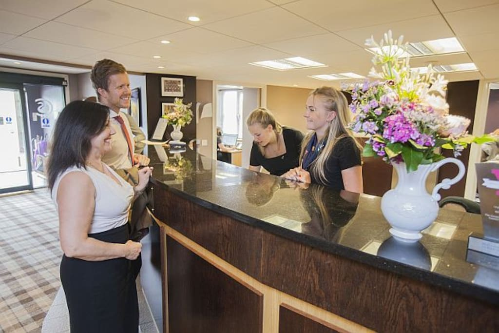 A warm friendly welcome at the front desk
