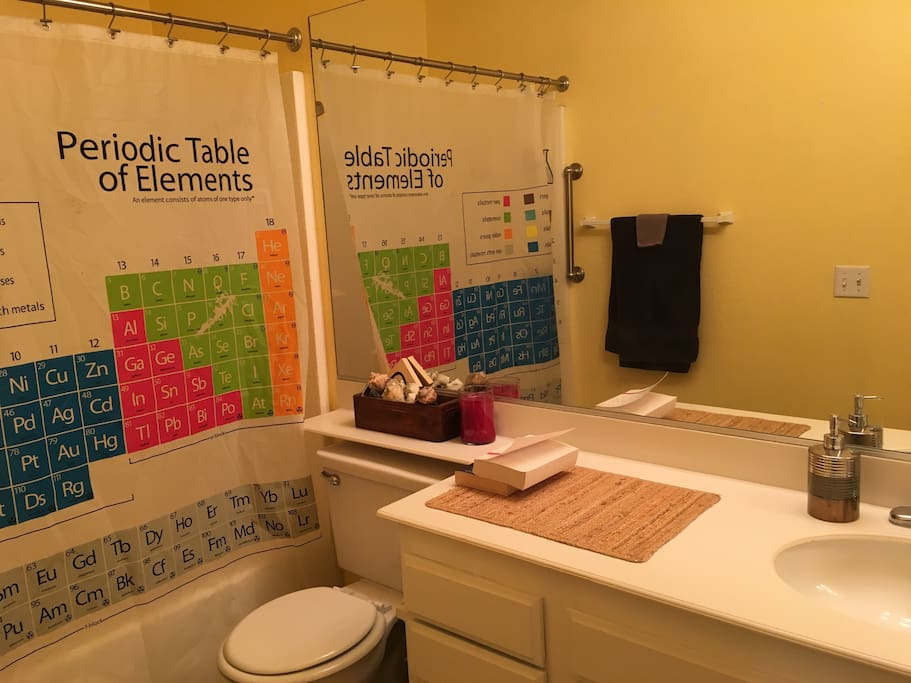 Periodic table shower curtain. Need I say more?