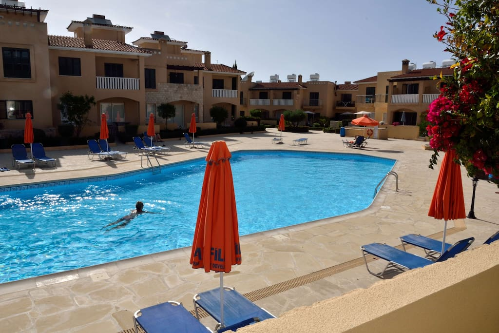 20m pool.  View from patio.  Ground floor so private access to the amenities.