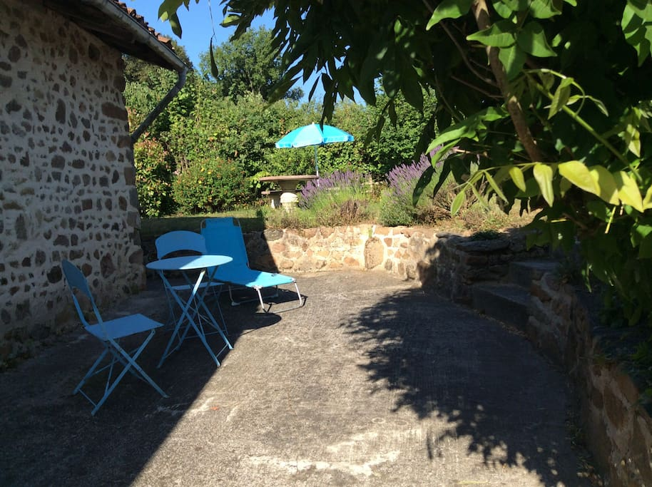 Private patio for little Gite outdoor dining and barbecue  seating table and access to washing line