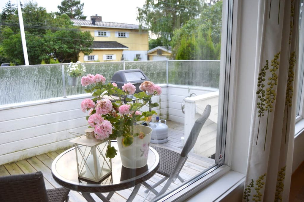 Balcony, ground floor next to private garden.