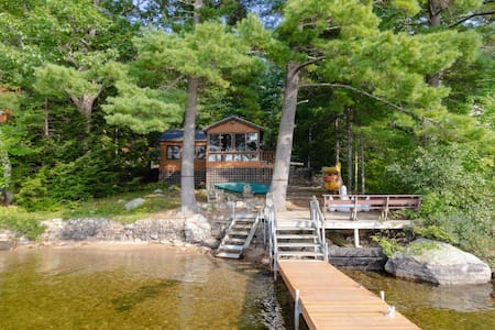 Lakefront cabin w/dock, deck, firepit, paddleboat, 1 dog OK