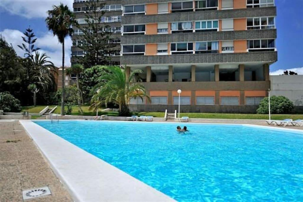 Zona de solárium y piscina