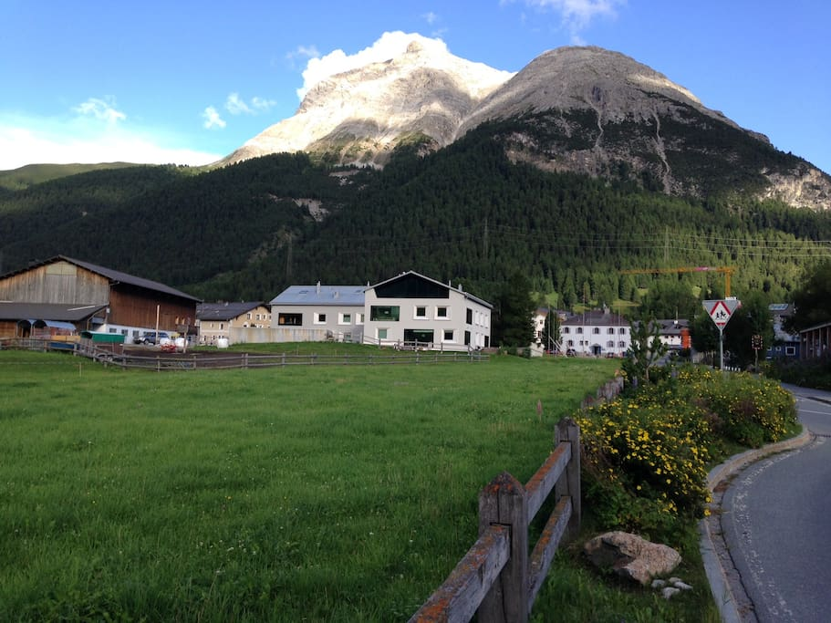Our mountain-style modern house (at the center), with surrounding fields and a neighbouring stable