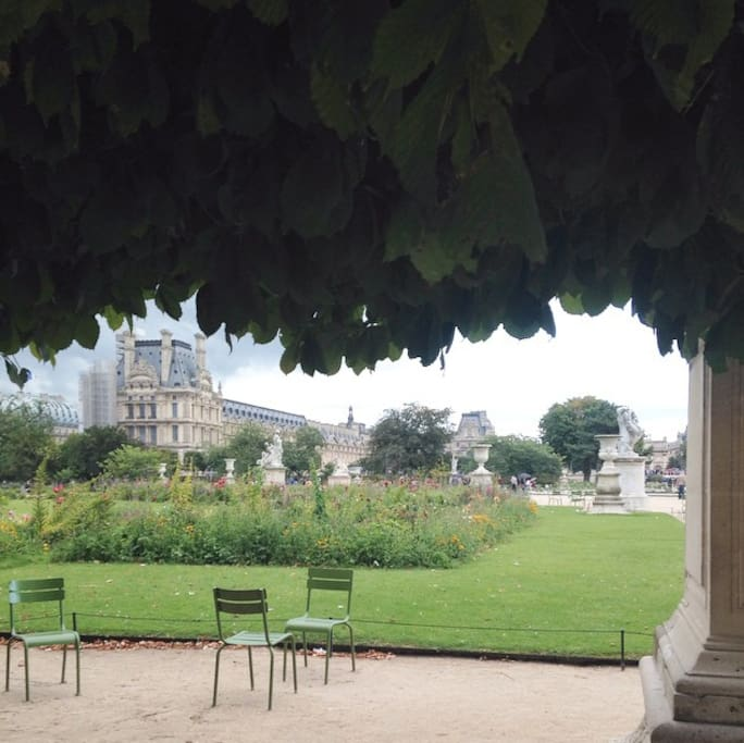 Tuileries garden facing the Louvre museum
