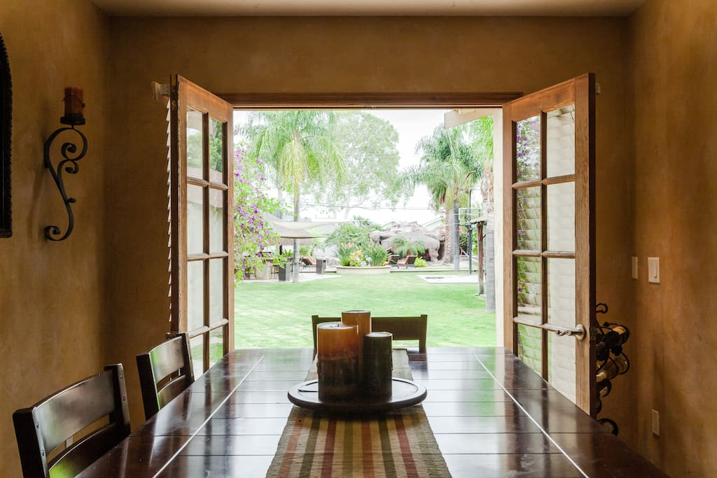 Dining area with view of backyard