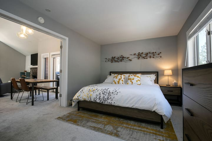 The bedroom boasts a new king size memory foam mattress, bedding and furniture.