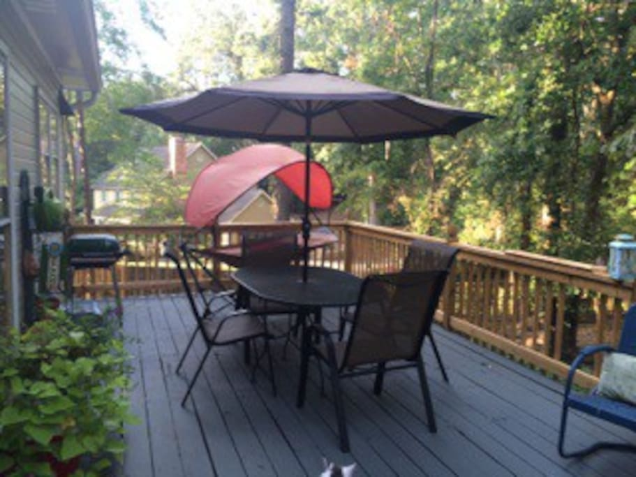 Comfortable deck with new gas grill.
