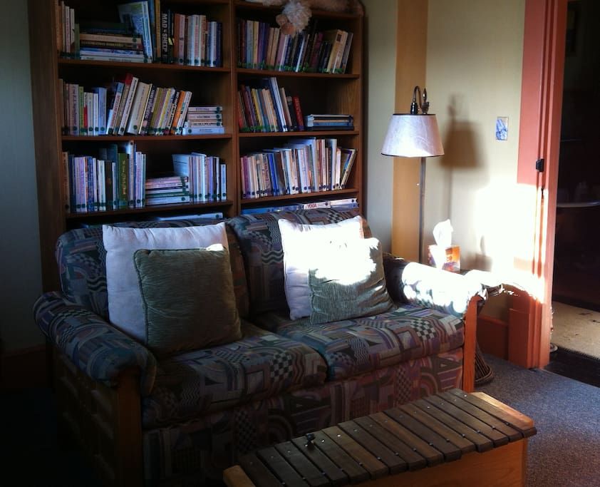 Here's our library upstairs. It's a common room for all our guests to enjoy.