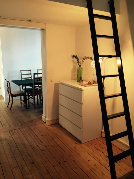 Stair up to loft with a bed for 1
