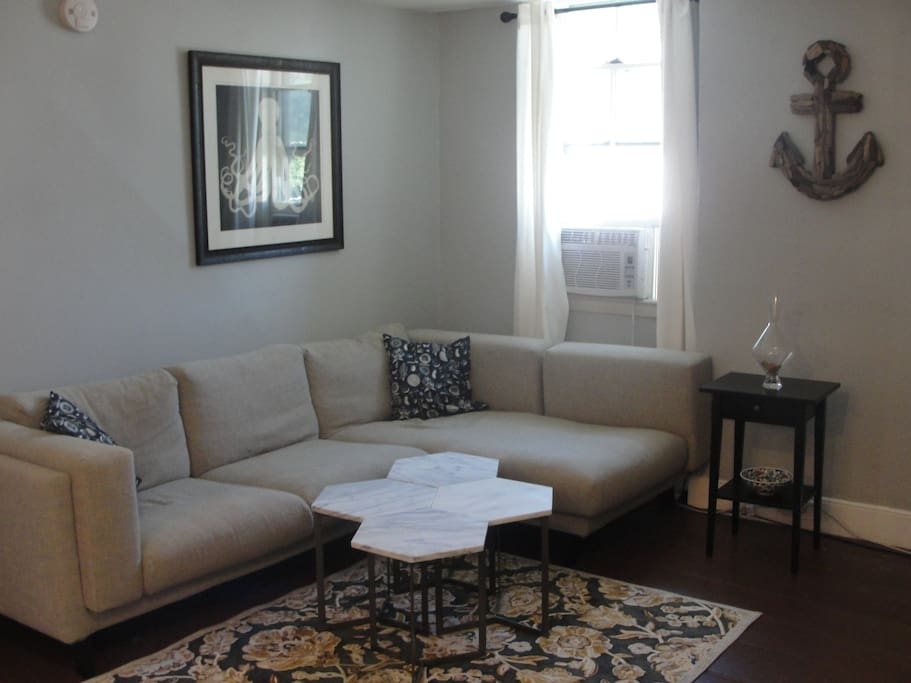 Our living room, with our large and comfy couch. It's perfect for lounging!