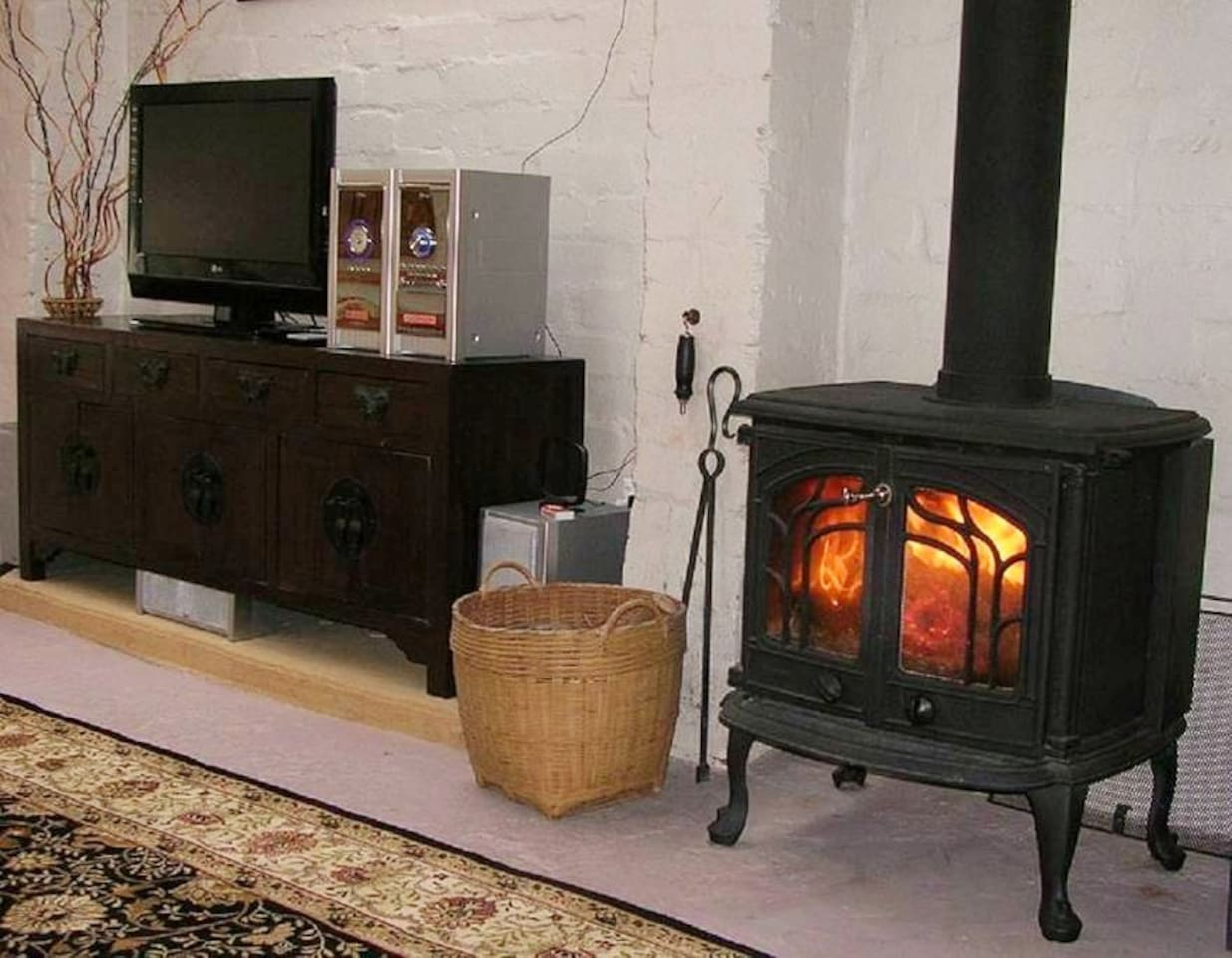 Cosy wood burning fire.