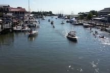 Shem Creek on a busy day.