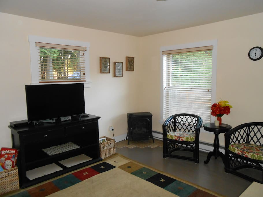 Front Room with Convertible Couch and Lovely View of the Park