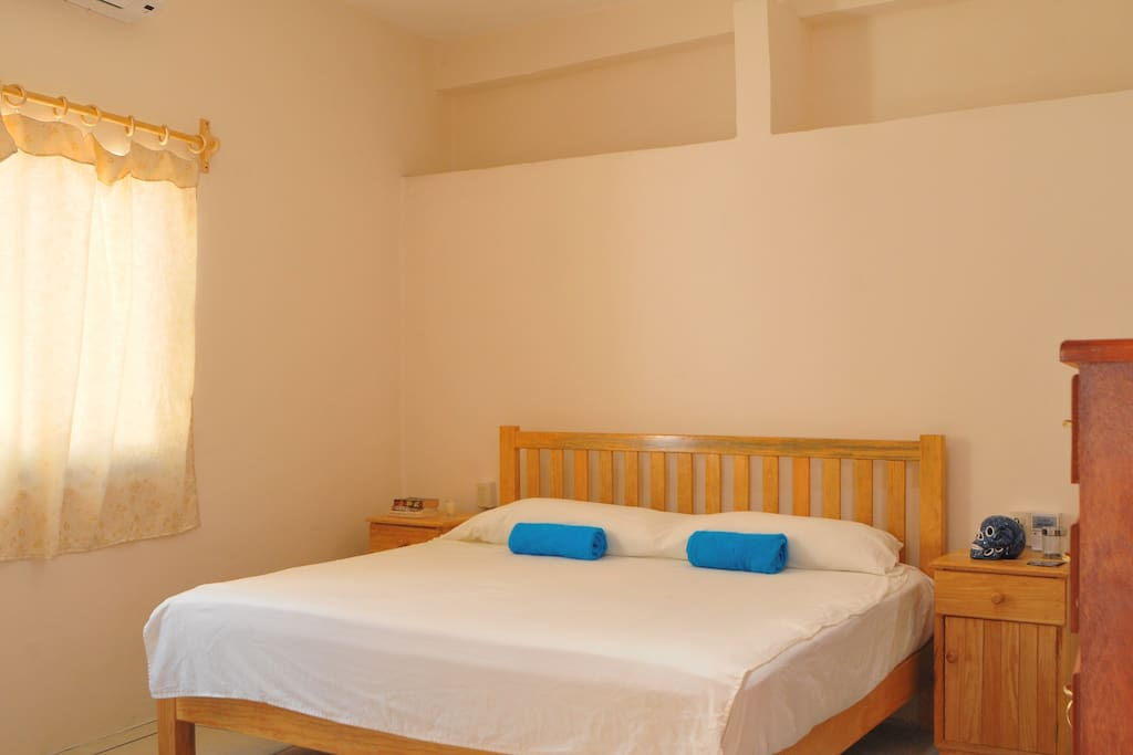 Bedroom with king-sized bed, dresser, air conditioning unit and tv with netflix.
