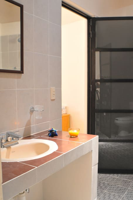 The ensuite includes shower, toilet and basin.