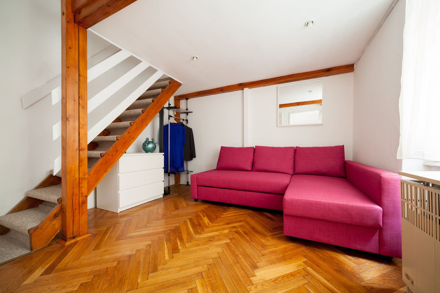 Room with openable double sofa-bed down