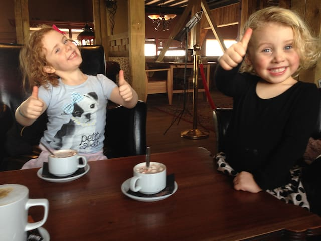 Hot chocolate at 'The View' bar and restaurant. Walk straight down to the beachfront and it's there!