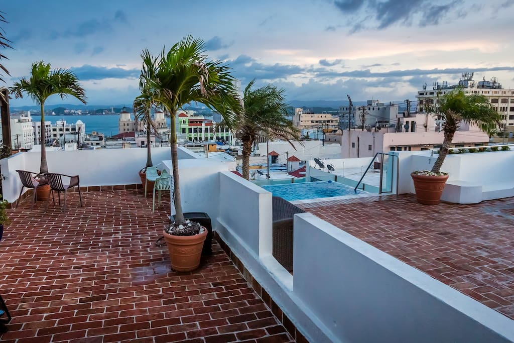 Our lovely terrace with wonderful views of Old San Juan and infinity plunge pool